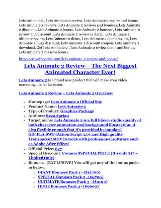 Lets Animate 2 review in detail and (FREE) $21400 bonus