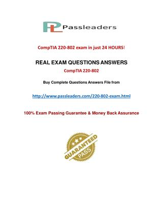 Passleader 220-802 Study Material