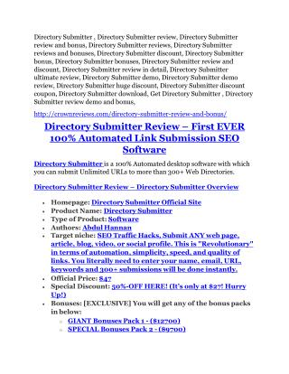 Directory Submitter REVIEW & Directory Submitter (SECRET) Bonuses