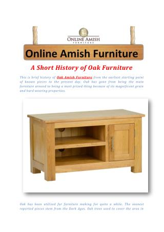 A Short History of Oak Furniture