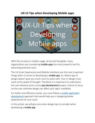 UX-UI Tips when Developing Mobile apps