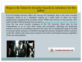 Steps to Be Taken by Security Guards in Aylesbury for the Safety