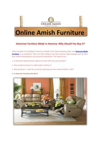 American Furniture Made in America: Why Should You Buy It?