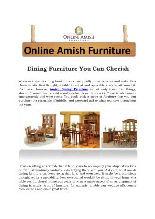 Dining Furniture You Can Cherish