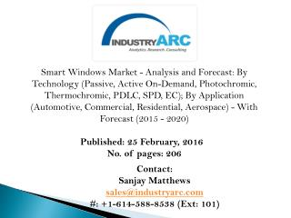 Smart Windows Market: high demand owing to rising urbanization during 2015-2020. - IndustryARC