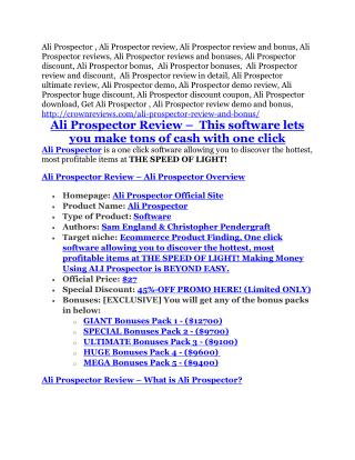 Ali Prospector REVIEW & Ali Prospector (SECRET) Bonuses