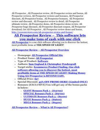 Ali Prospector REVIEW & Ali Prospector (SECRET) Bonuses