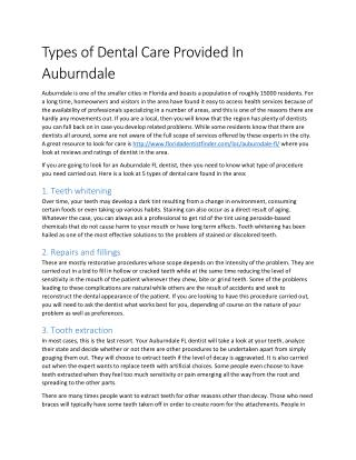 Types of Dental Care Provided In Auburndale