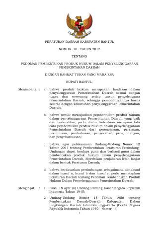 peraturan bupati no 12 tahun 2012