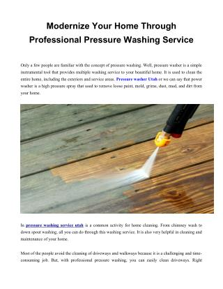 pressure washing service utah