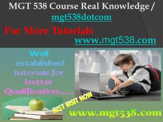 MGT 538 Course Real Knowledge / mgt538dotcom