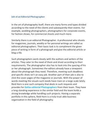 Job of an Editorial Photographer