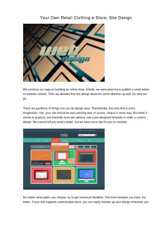 Your Own Retail Clothing e-Store: Site Design