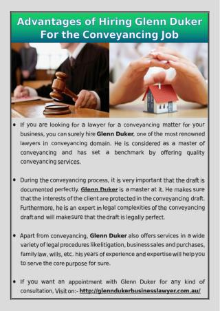 Advantages of hiring Glenn Duker for the conveyancing job