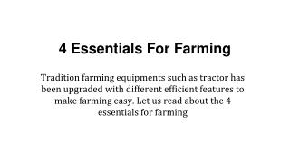 4 Essentials For Farming