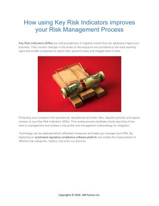 How using Key Risk Indicators improves your Risk Management Process