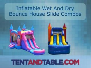 Colorful Inflatable Wet and Dry Bounce House Slide Combos