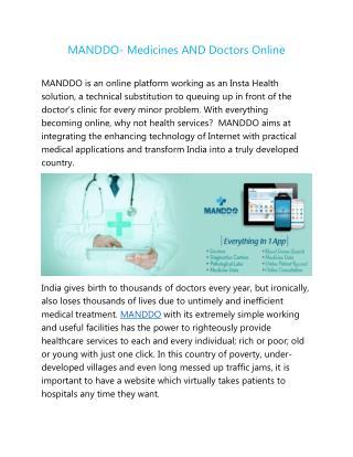 MANDDO- Medicines AND Doctors Online