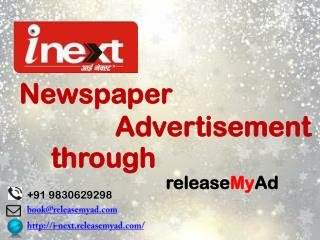 Newspaper Advertisement in I-Next Newspaper via releaseMyAd