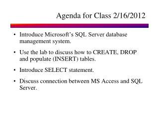 Agenda for Class 2