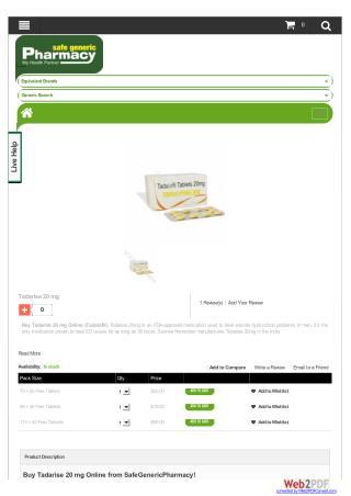 Buy Tadarise 20mg Online | Buy At SafeGenericPharmacy.com | Safe Generic Pharmacy