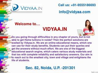 Avail Home tuitions in noida through Vidyaa.in