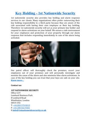 Key Holding - 1st Nationwide Security