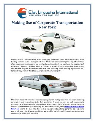 Making Use Of Corporate Transportation New York