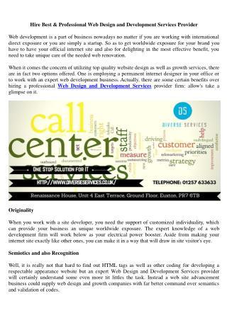 Custom Web design and development Company   Diverse Services