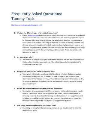 What is a Tummy Tuck and more!