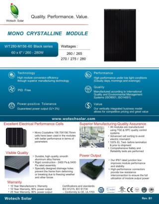 All full black monocrystalline 260w