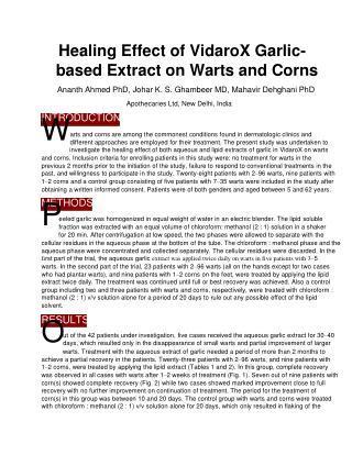 Healing Effect of VidaroX Garlic-based Extract on Warts and Corns