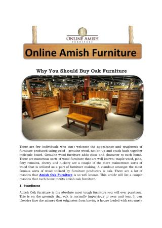 Why You Should Buy Oak Furniture