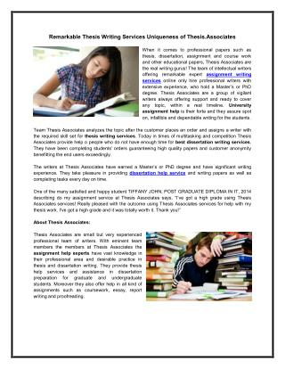Remarkable Thesis Writing Services Uniqueness of Thesis Associates