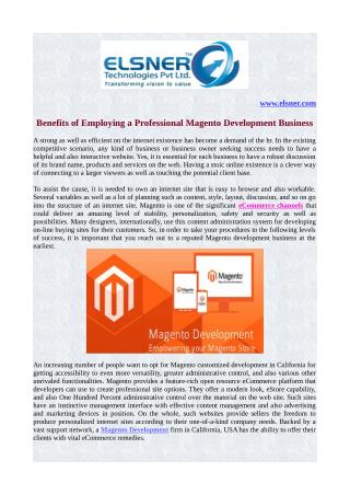 Benefits of Employing a Professional Magento Development Business