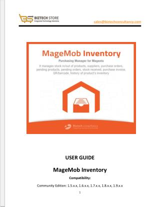 MageMob Inventory System: Magento Mobile Inventory User Guide