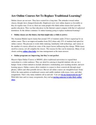 Are Online Courses Set To Replace Traditional Learning?