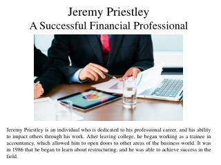 Jeremy Priestley - A Successful Financial Professional
