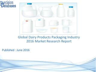 Global Dairy Products Packaging Market 2016: Industry Trends and Analysis