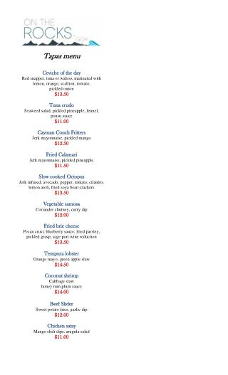 Bar or Tapas Menu At Grand Old House Restaurant and Fine Dine