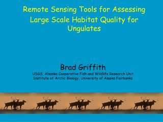 Remote Sensing Tools for Assessing Large Scale Habitat Quality for Ungulates