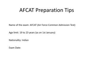 AFCAT 2016 Exam Preparation Tips