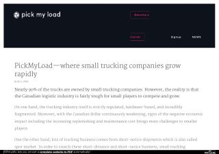PickMyLoad—where small trucking companies grow rapidly