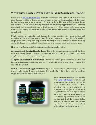 Why Fitness Trainers prefers Body Building Supplement Stacks