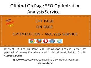Off And On Page SEO Optimization Analysis Service