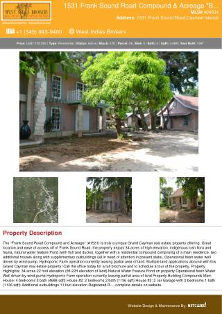 1531 Frank Sound Road Compound & Acreage Big Land Cayman Property For Sale