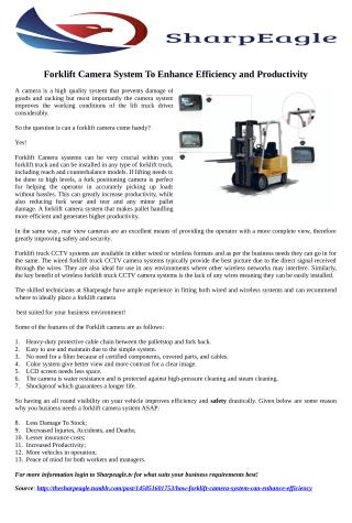 How Forklift Camera System Can Enhance Efficiency and Productivity