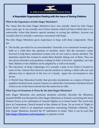 A Reputable Organization Dealing with the Issue of Saving Children