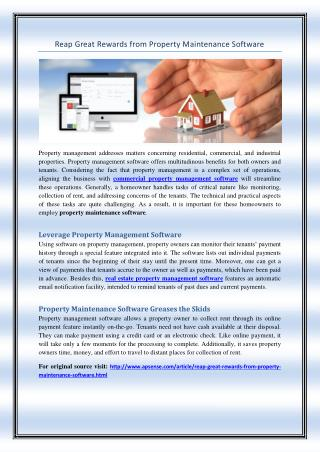 Reap Great Rewards from Property Maintenance Software