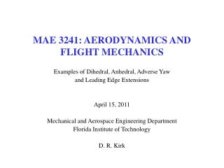 MAE 3241: AERODYNAMICS AND FLIGHT MECHANICS